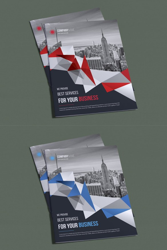 Polygonal Bifold Brochure Design Template
