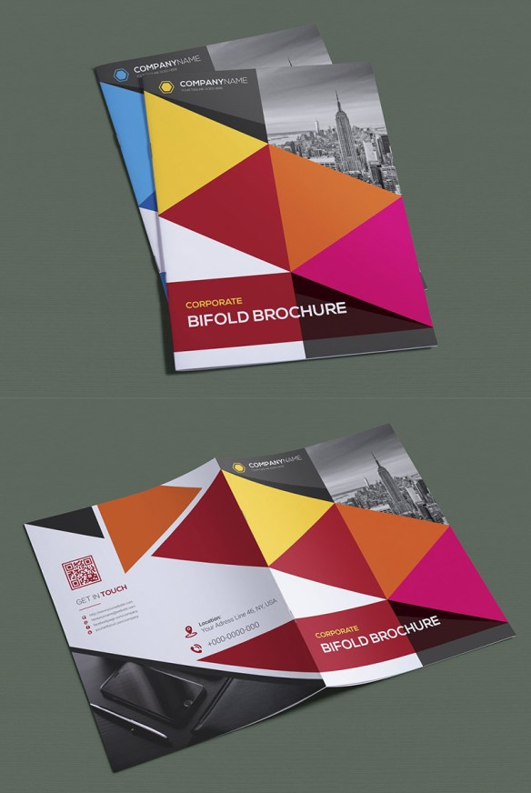 Geometric Colorful Bifold Brochure Design Template