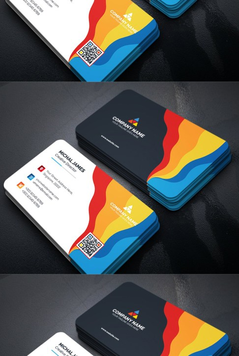 Bright and Colorful Wave Design Business Card Template