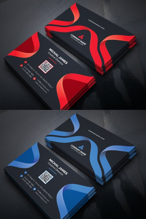 Curvy Dark Business Card Template - Ribbon Design