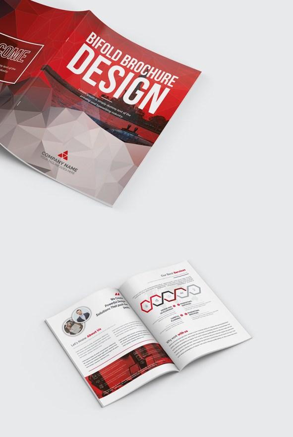 Polygonal Bifold Brochure Template