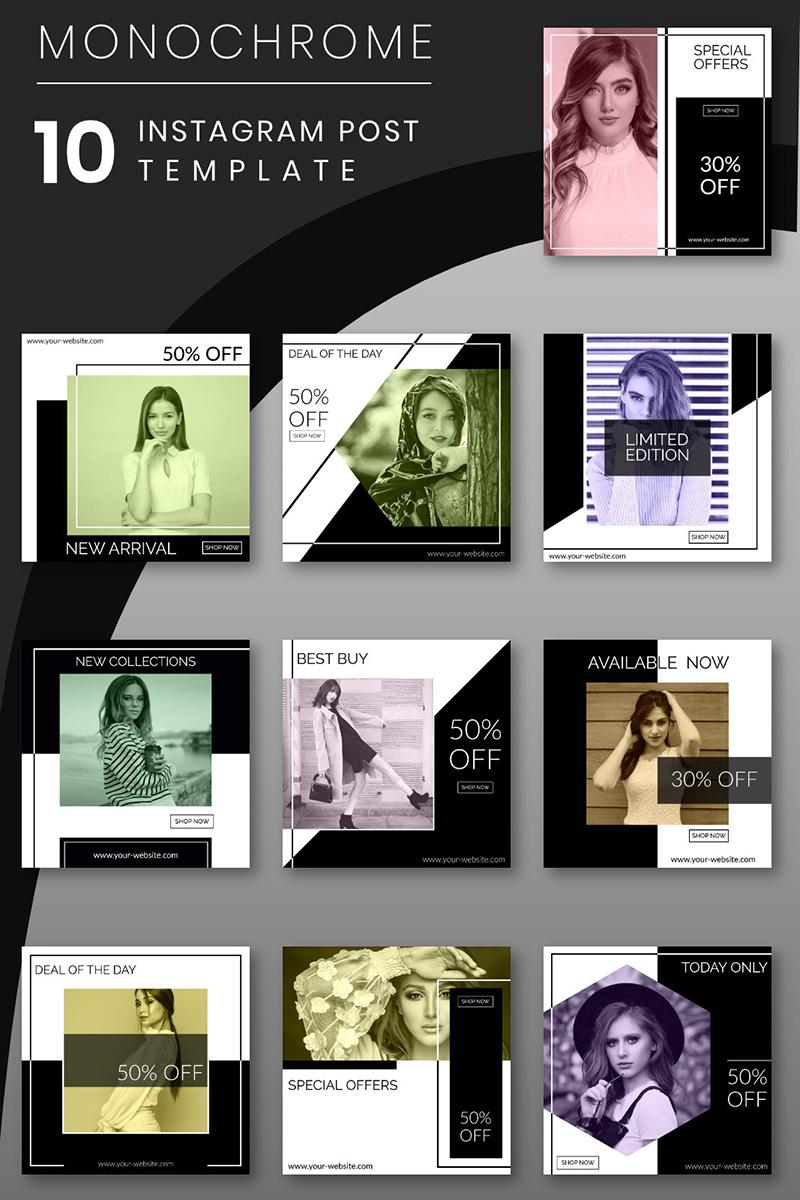 Monochrome - 10 Instagram Post Template Social Media