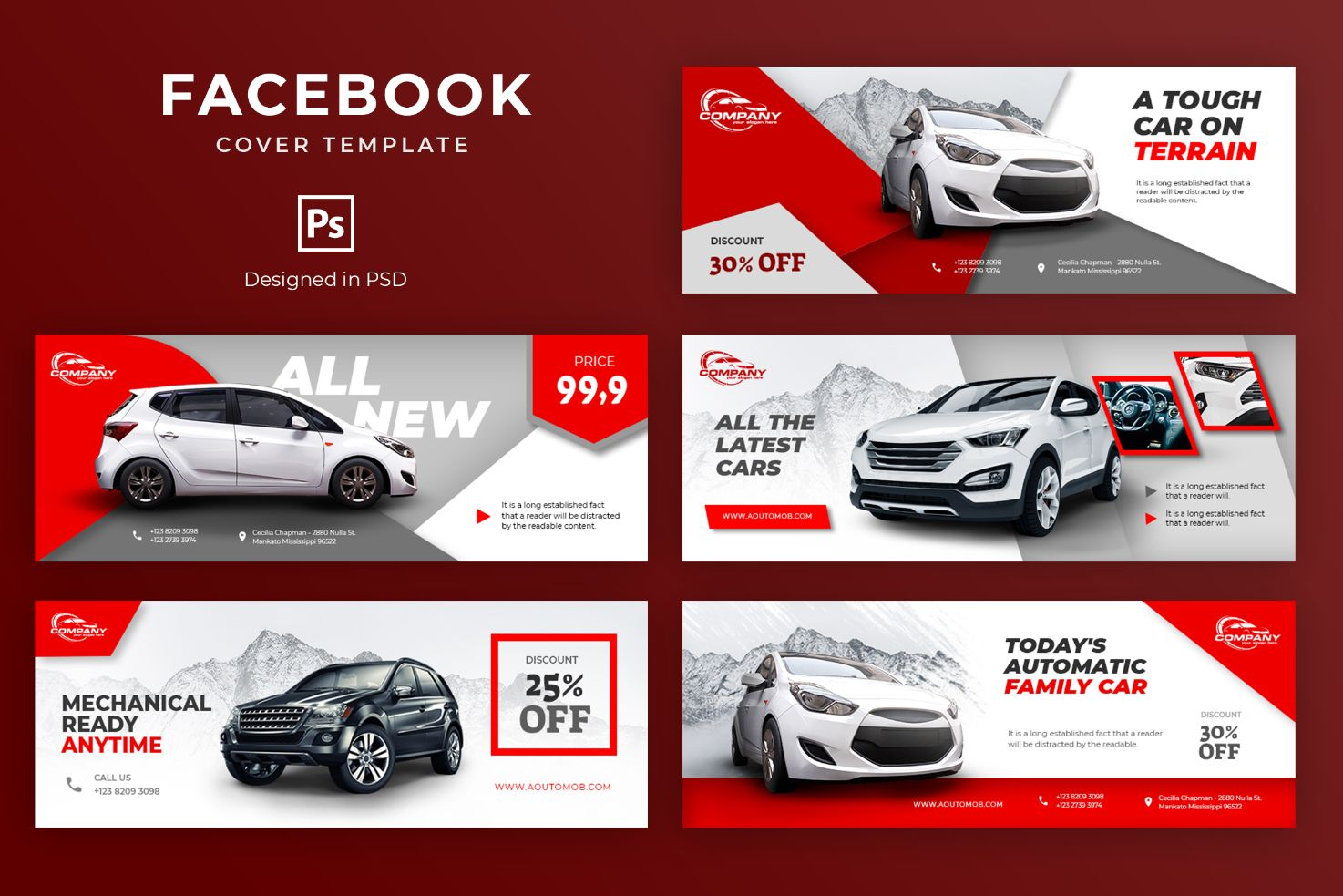 Modern Car Showroom Facebook Cover Template
