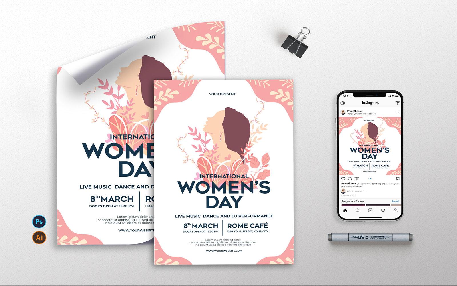 International Womens Day - Flyer, Poster & Instagram Template
