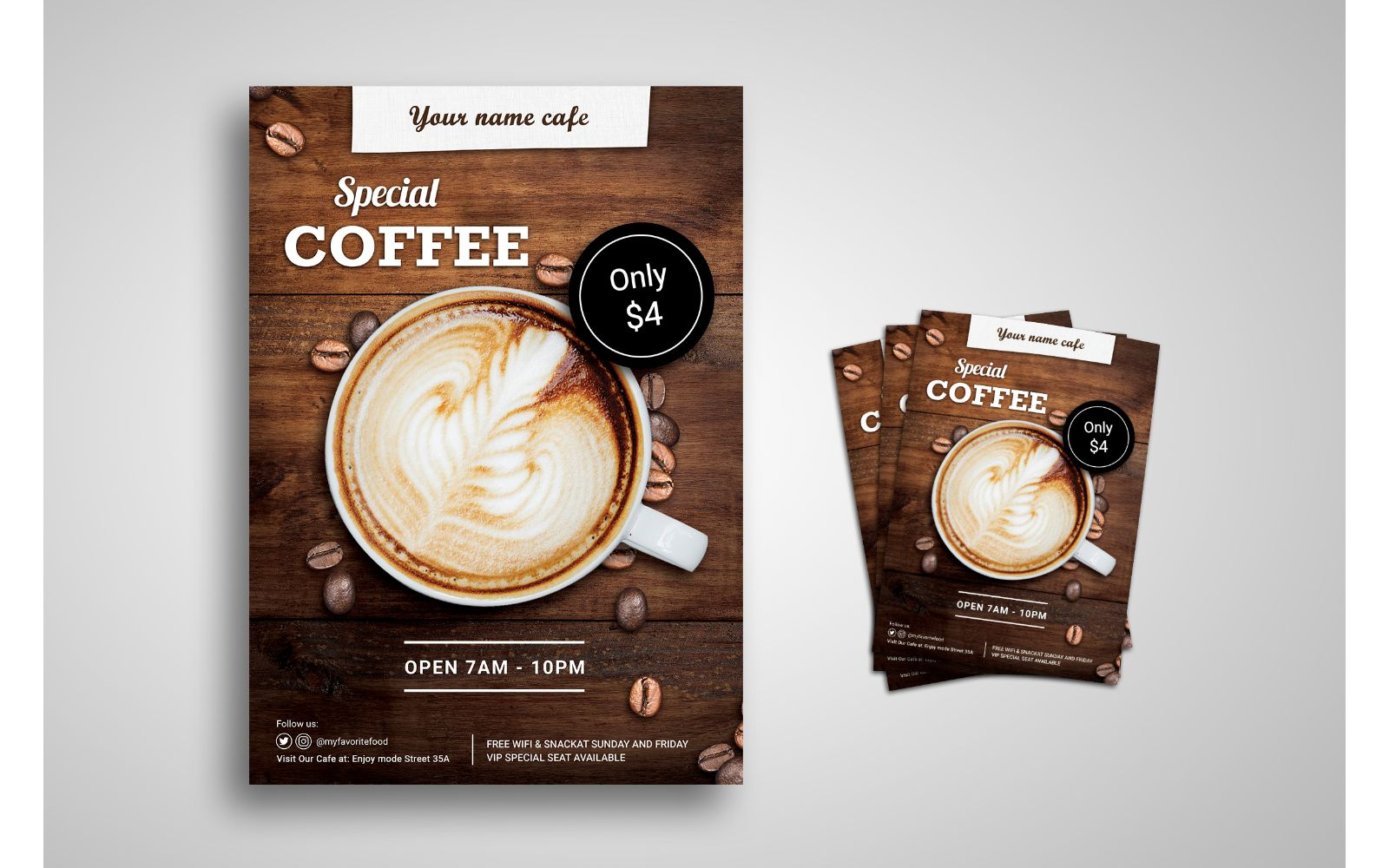 Coffee Lover Flyer Template with Wooden Background Effect