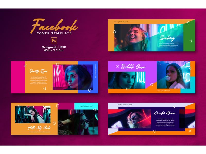 Bright and Vibrant Facebook Cover Template