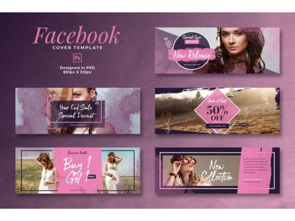 Facebook Cover Buy 1 Get 1 Template - Pink and Purple Theme