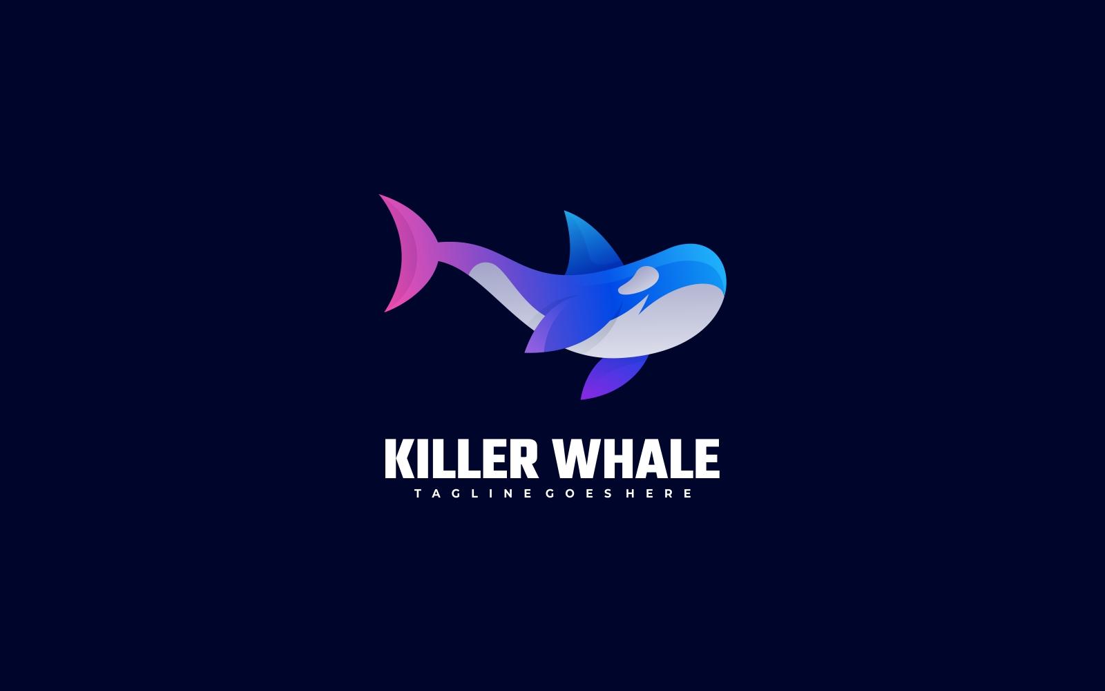 Creative Killer Whale 3D Gradient Logo - Pink, Purple and Blue