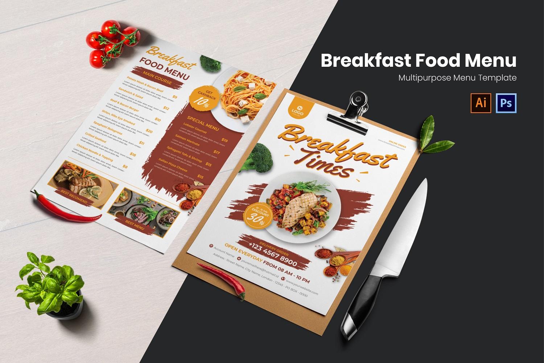 Breakfast Food Menu Print Template