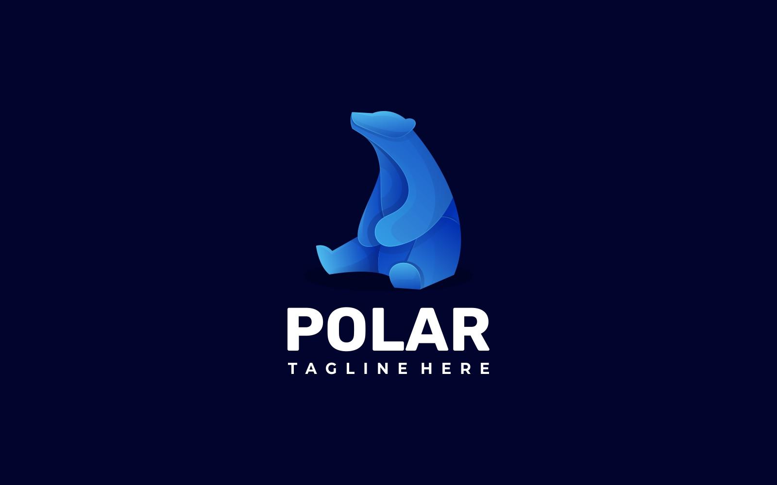 Polar Bear Gradient Blue Logo Style