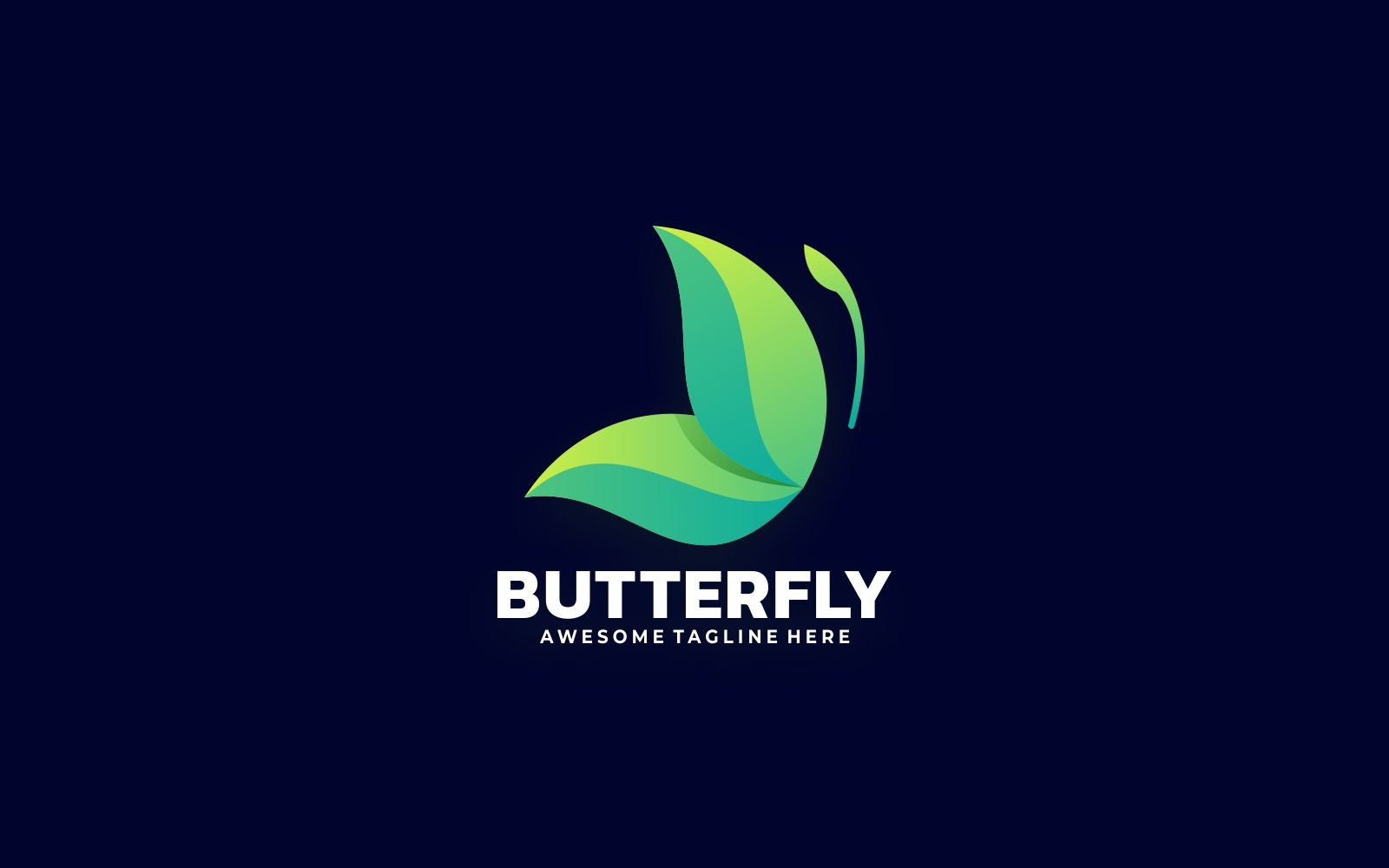 Butterfly Gradient Logo - Shades of Green