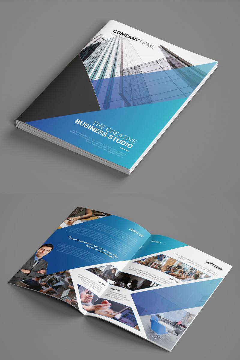 Sistec Bifold Brochure - Geometric Design Blue and White Brochure Template