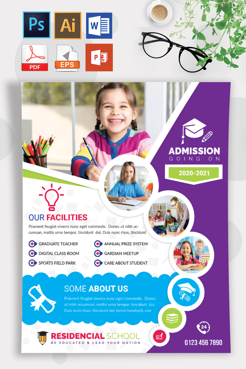 School Admission Flyer Vol-07 Template - Creative Purple and Blue Circle Theme