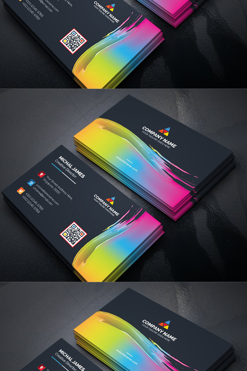 Abstract Business Card Template - Paint Effect