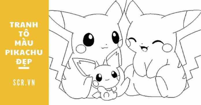 tranh tô màu pikachu đẹp