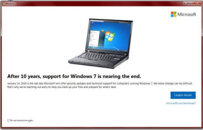 Fin de soporte para Windows 7