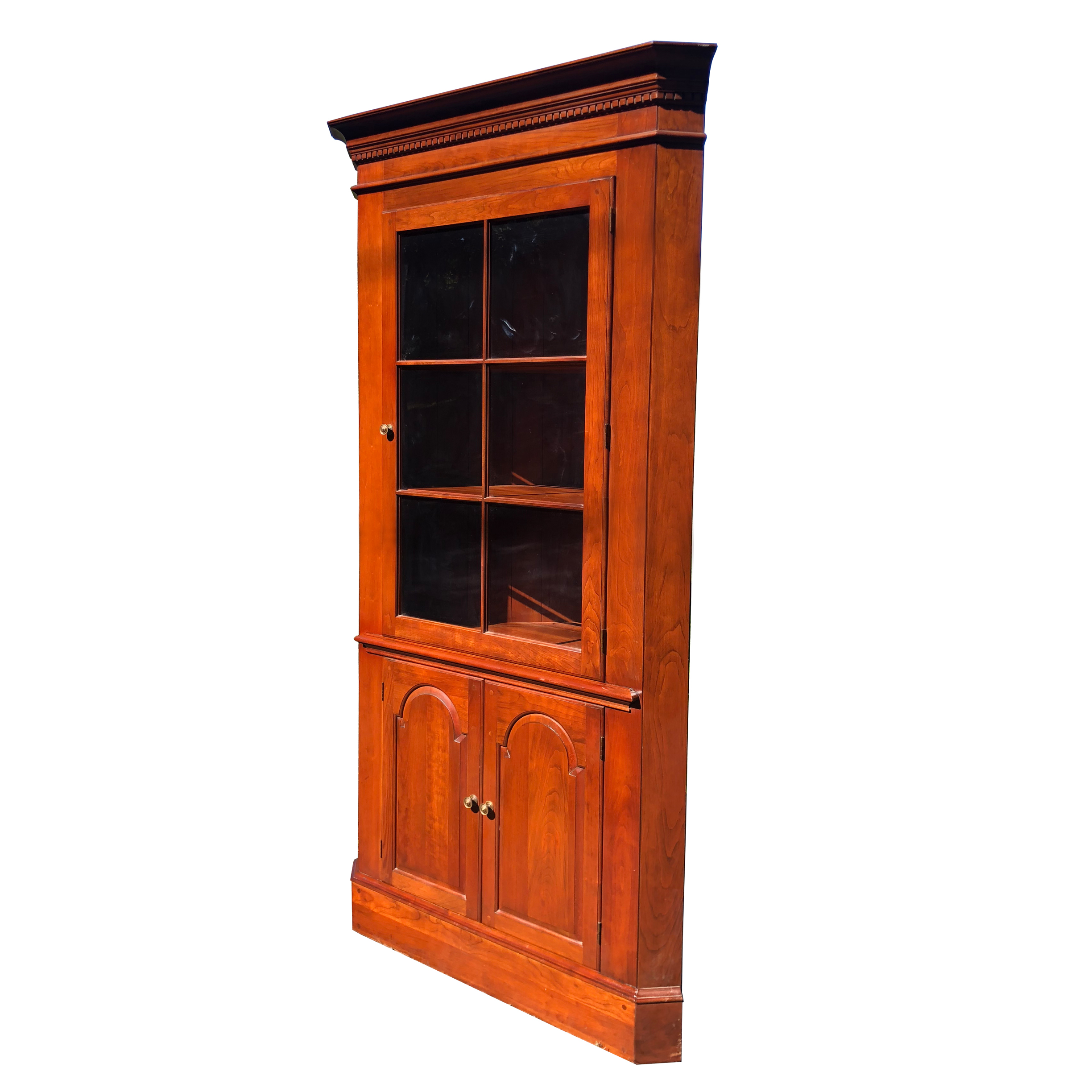 Vintage Traditional Cherry Corner Curio Cabinet by ... on Corner Sconce Shelf Cabinet id=89849