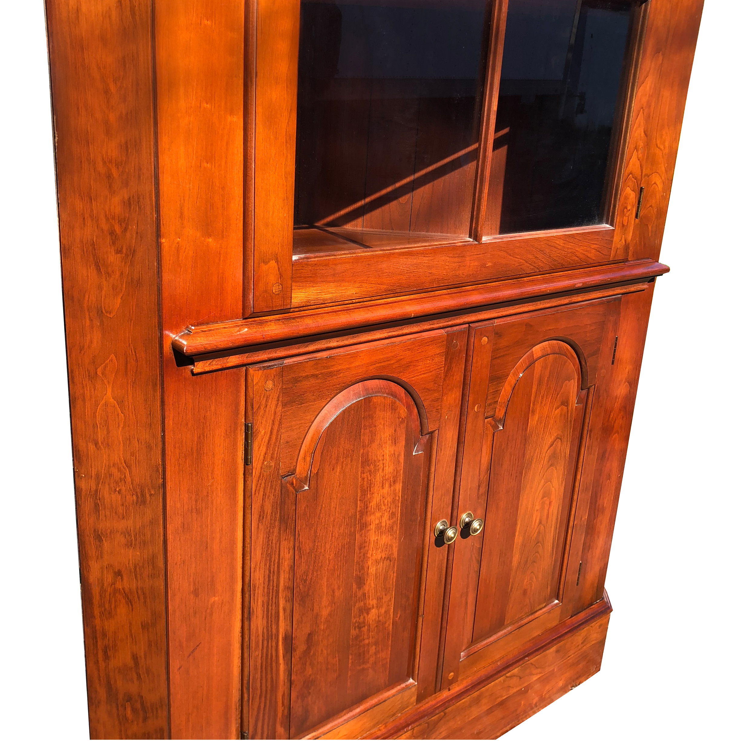 Vintage Traditional Cherry Corner Curio Cabinet by ... on Corner Sconce Shelf Cabinet id=62396