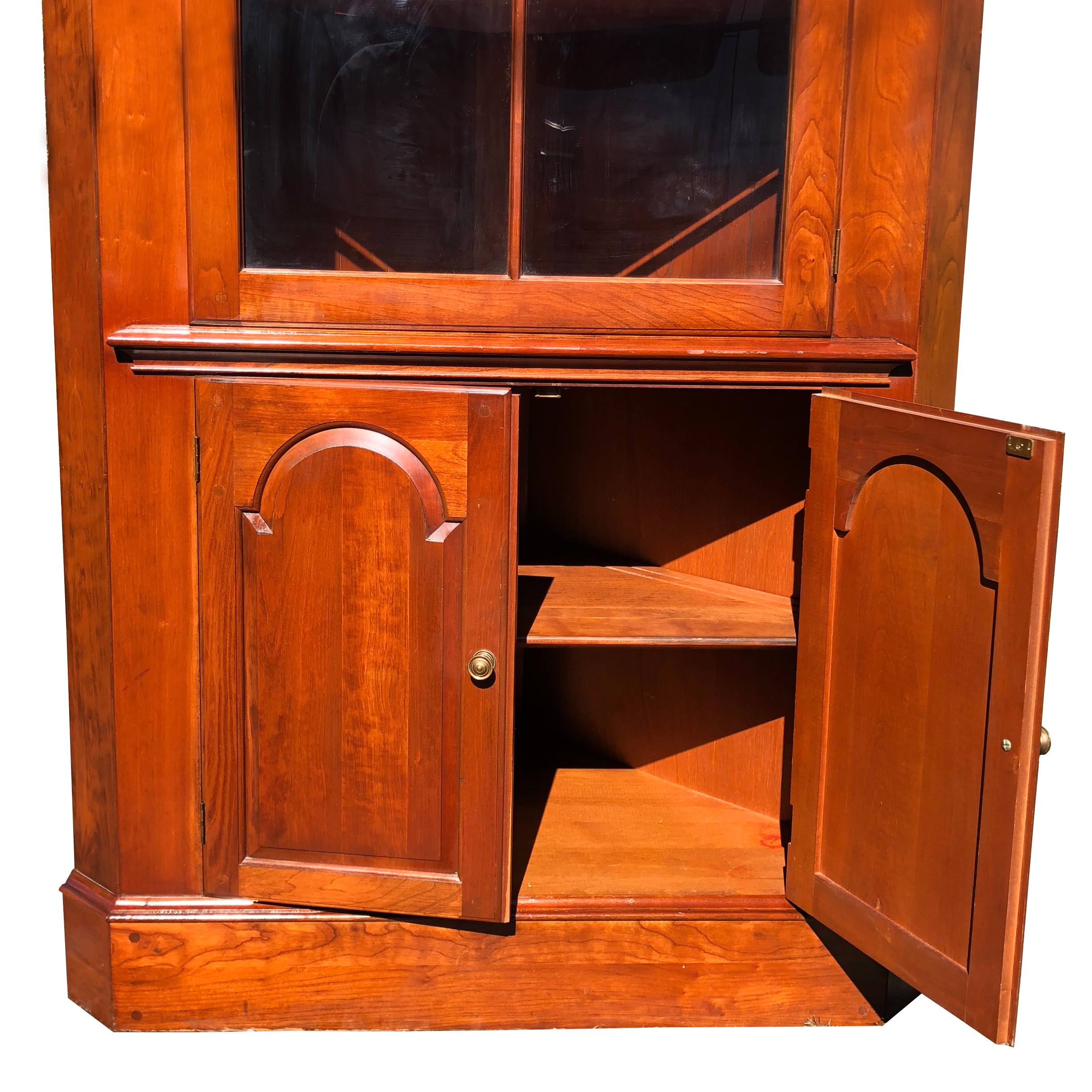 Vintage Traditional Cherry Corner Curio Cabinet by ... on Corner Sconce Shelf Cabinet id=41763