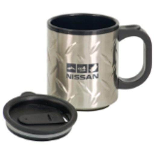 Diamond plated Travel Mug w Handle - 12o