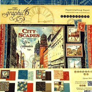 Bloc papel scrap 24 hojas 30x30 City Scapes Graphic45 scrapbooking,cardmaking