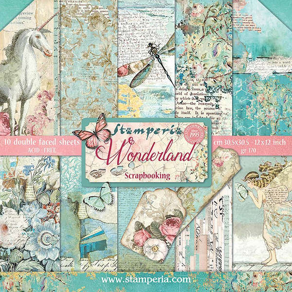 papel scrap stamperia wonderland, papel scrap unicornio, papel scrap libélula, papel scrapbooking wonderland de stamperia, papel scrap tarjeteria, papel scrap manualidades