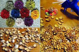 Don't know what to do with all those pistachio shells? Make flowers!