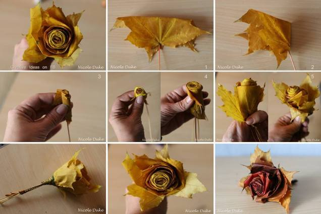 Beautiful flowers using fallen leaves.