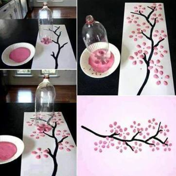 Create flowers and leaves using the base of a soft drink bottle.
