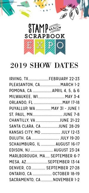 2019 Stamp & Scrapbook Expo Schedule