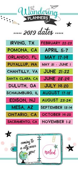 2019 Wandering Planners Schedule