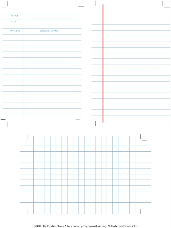 Free Printable | Library, Graph and Note Cards