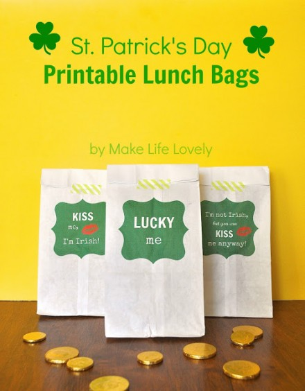 St. Patrick's Day Printable Lunch Bags, by Make Life Lovely
