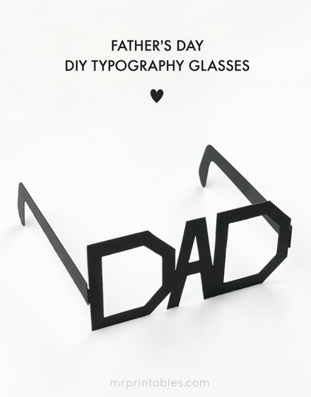 Freebie | Printable Typography Glasses for Father's Day