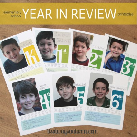 Freebie - Elementary School Year-in-review Printable from It's Always Autumn