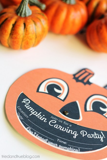 Freebie - pumpking carving party invites from Tried & True