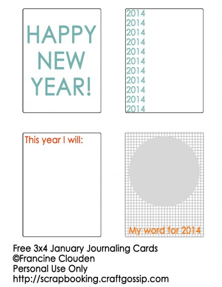 3x4 January Journaling Cards