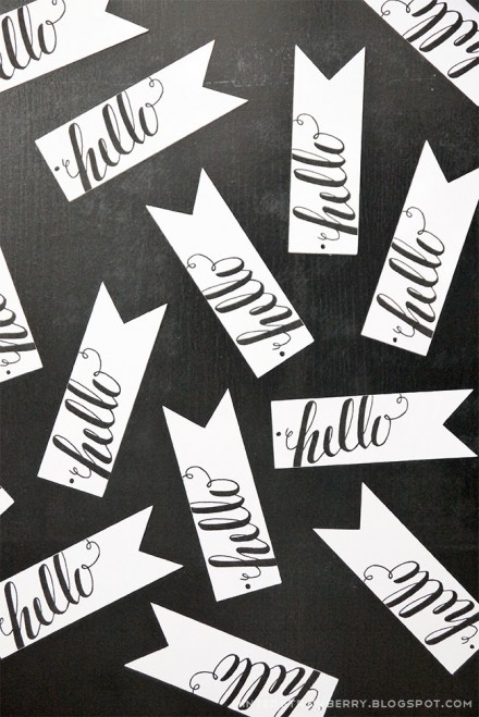 Freebie - Printable Handwritten HelloTags from Minted Strawberry