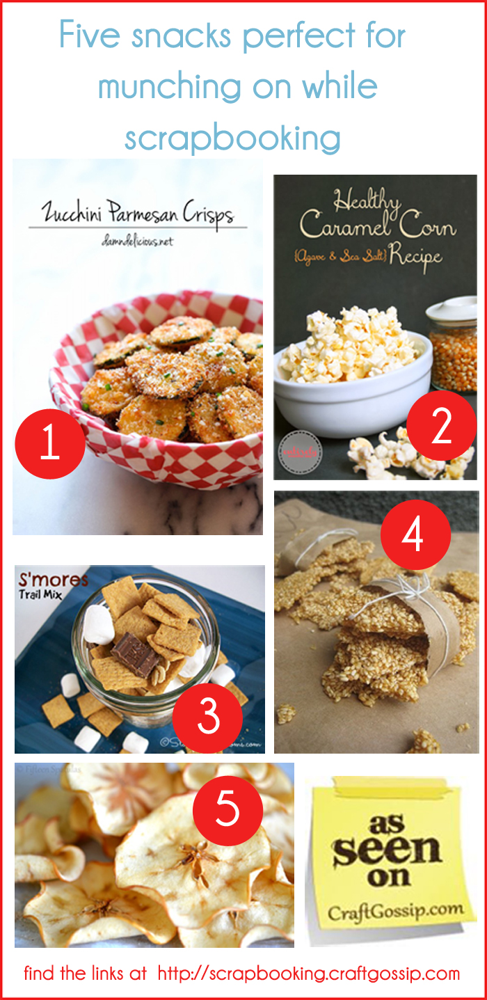 Fivesnacks for munching on while scrapbooking