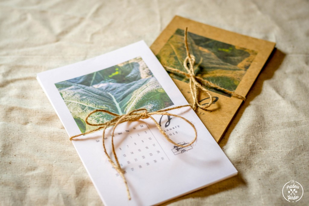Free printable 2015 calendar from The Prudent Garden