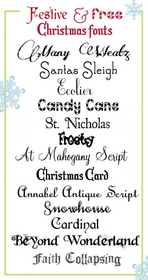 9 Festive And Free Christmas Fonts Scrap Booking