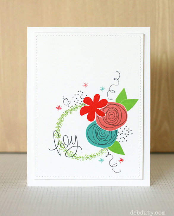 Stamped flower card by Deb Duty