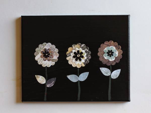 Paper Flowers on Canvas for Mother's Day
