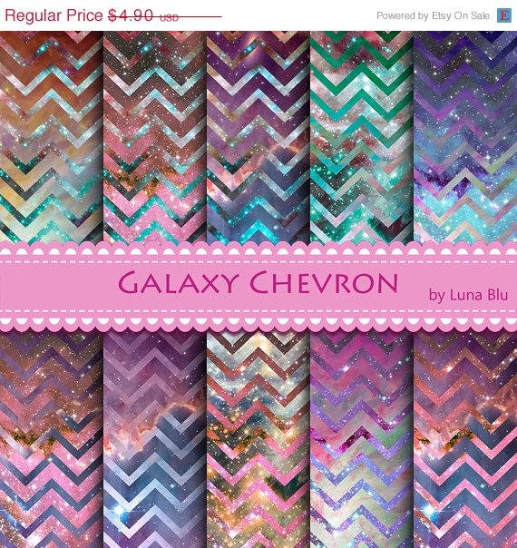 Galaxy Chevron Digital Paper Pack