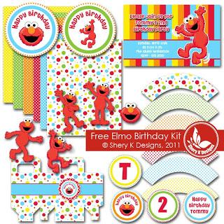 SVG and Printable Elmo Birthday Kit