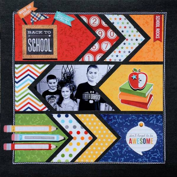 Single Photo BAck to School Scrapbook Layout 8