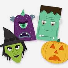 halloween monster window decorations from snapfish featured at craft gossip