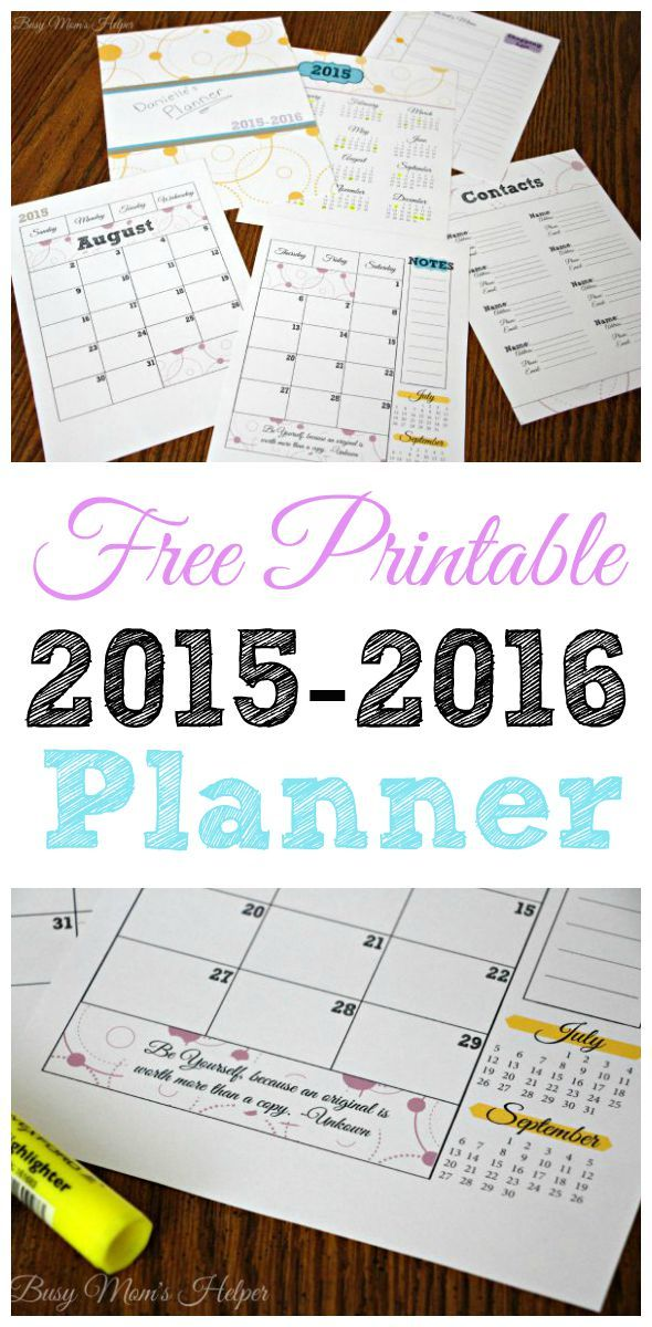 2015-2016 Planner from Busy Mom's Helper