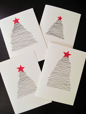5 Ideas for Easy DIY Christmas Cards - Stitched Tree