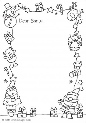 santa-letter- coloring page
